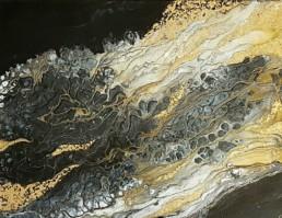 Golden Space 2.0 70x90cm Original Bilder Gemälde Fluidart