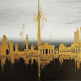 Berlin Skyline 50x100cm Bilder Gemaelde Stadt