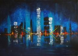 Stadt bei Nacht 50x70cm Gemaelde Bilder abstrakt