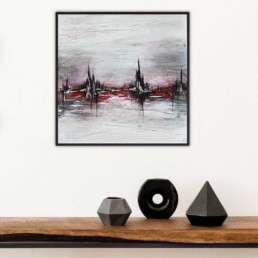 bild abstrakt stadtbild abstrahiert rot silber schwarz