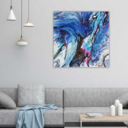 bild abstrakt kunst vogel blau original unikat