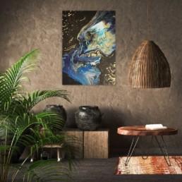 Abstrakte Malerei Fluidart Bild blau schwarz gold fantasy galaxy
