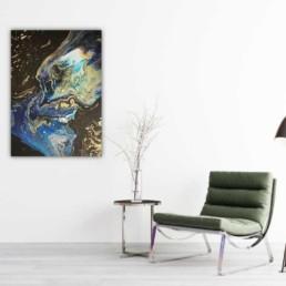 Abstrakte Kunst Malerei Bild blau schwarz gold Original handsigniert
