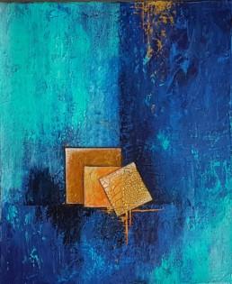 Cubed 50x60 blau Bilder abstrakte Gemälde geometrisch
