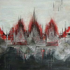 Rote Stadt Lebenslinie abstrakte Bilder