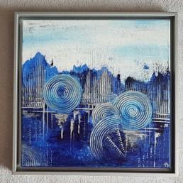 gemaelde wandbild stadt dunkelblau hellblau geometrsisch