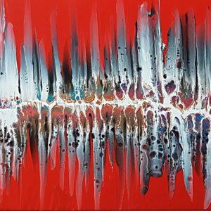 Ghost pour rot abstraktes Fluidart 50x100cm