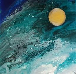 Goldener Planet Fluidart Bilder blau gold gruen 40x40